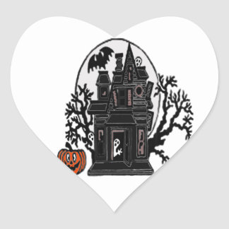 Haunted House Heart Sticker