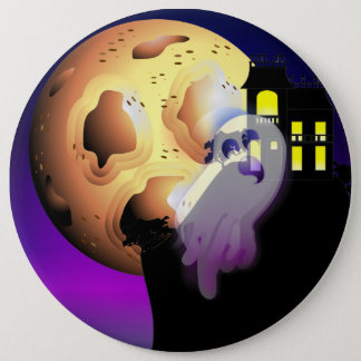 Haunted House, Moon and Ghost 6 Inch Round Button