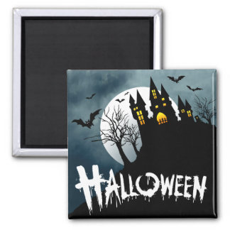 Haunted House on a Hill Spooktacular Halloween Square Magnet