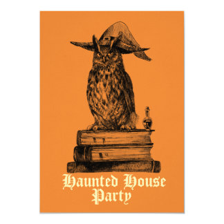 Haunted house party witch owl customizable card