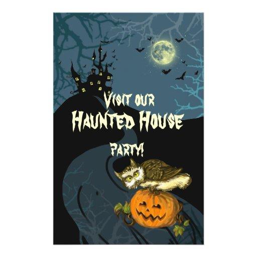 Haunted House pumpkin owl creepy tree Personalized Flyer