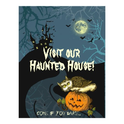 Haunted House pumpkin owl creepy trees Personalized Flyer