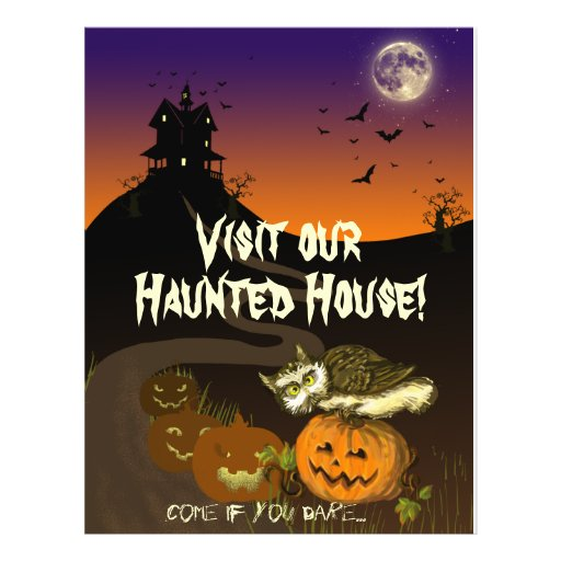Haunted House pumpkin owl Flyers