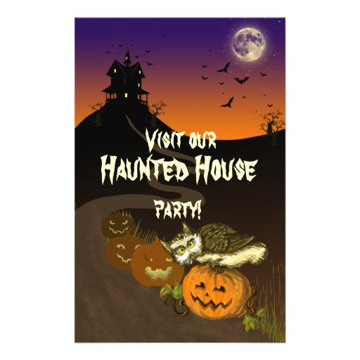 Haunted House pumpkin owl Custom Flyer