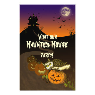 Haunted House pumpkin owl Personalized Flyer