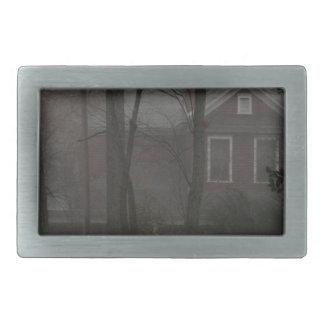 haunted house rectangular belt buckle
