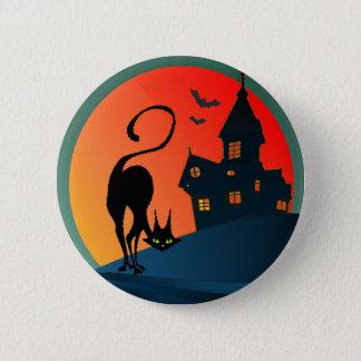 HAUNTED HOUSE, SPIDER, WEB & CAT by SHARON SHARPE 2 Inch Round Button