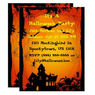 Haunted House Spiders Halloween Invitation
