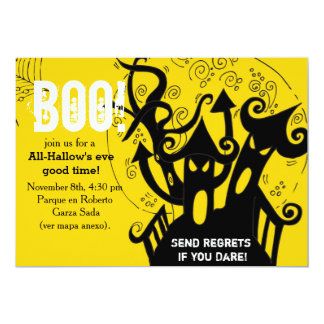 """Haunted house spooky halloween Party 5"""" X 7"""" Invitation Card"""
