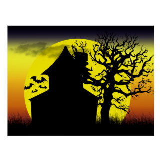 Haunted House Sunset Poster Print
