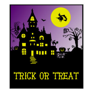 Haunted House-Witch, Cat, Owl Poster