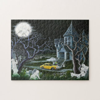 Haunted mansion with ghosts and cemetery puzzle