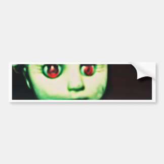 haunted red eyed doll products bumper sticker