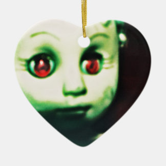 haunted red eyed doll products ceramic heart ornament