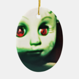 haunted red eyed doll products ceramic oval ornament