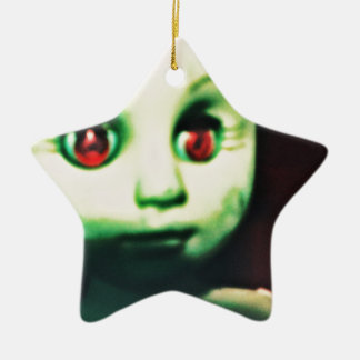haunted red eyed doll products ceramic star ornament