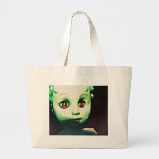 haunted red eyed doll products large tote bag
