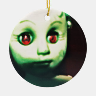 haunted red eyed doll products round ceramic ornament