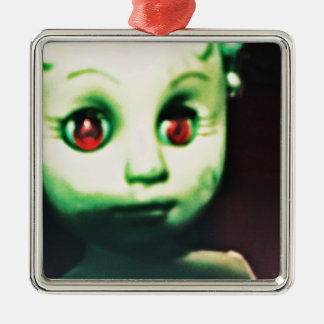 haunted red eyed doll products Silver-Colored square ornament