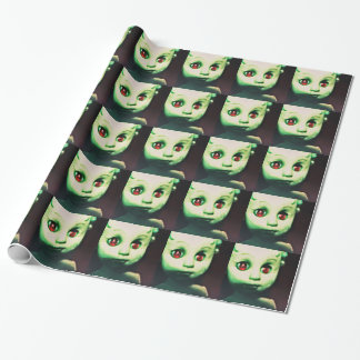 haunted red eyed doll products wrapping paper