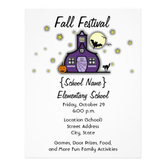 Haunted Schoolhouse School Halloween Fall Festival Full Color Flyer