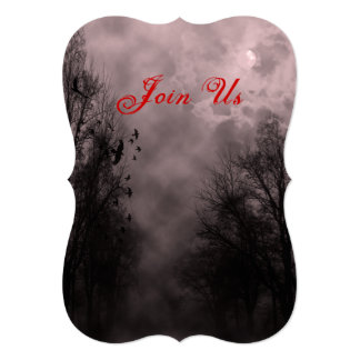 Haunted Sky and Ravens Custom Halloween Invitation