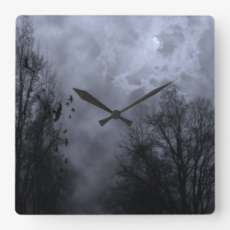 Haunted Sky Blue Mist Wall Clock