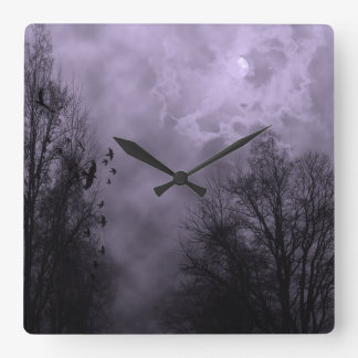 Haunted Sky Purple Mist Wall Clock