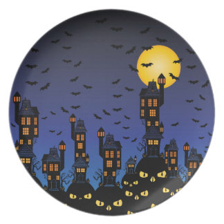 Haunted town dinner plate