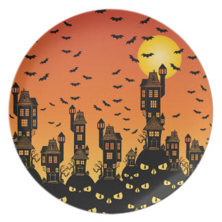Haunted Town Dinner Plates