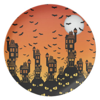 Haunted town party plate