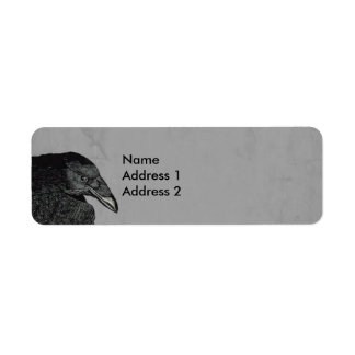 Haunting Black Crow Face Gray Return Address Label