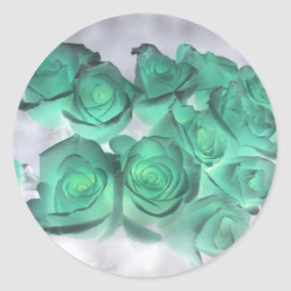 Haunting bouquet of roses tinted green classic round sticker