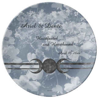 Haunting Dogwood Triple Moon Handfasting Grays Porcelain Plate