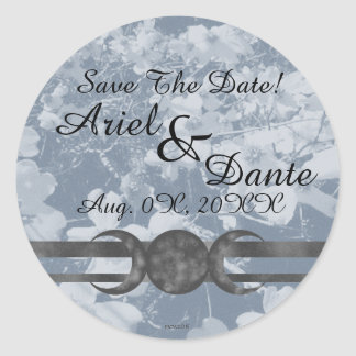 Haunting Dogwood Triple Moon Handfasting Grays Round Sticker