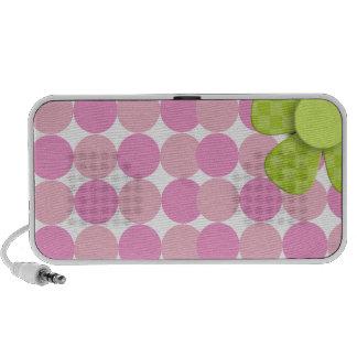Haut-parleur rose de point de polka mini avec la f