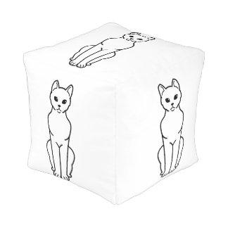 Havana Brown Cat Cartoon Cube Pouf