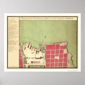 Havana Cuba Old City Map 1720 Poster