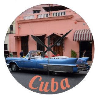 Havana Cuba Vintage Car Coral Architecture Large Clock