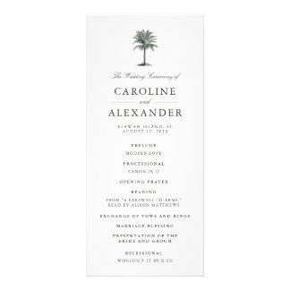 Havana Palm Wedding Ceremony Program Rack Card Design