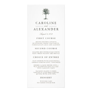 Havana Palm Wedding Menu Card Rack Card Design