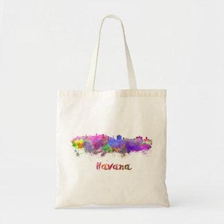 Havana skyline in watercolor tote bag
