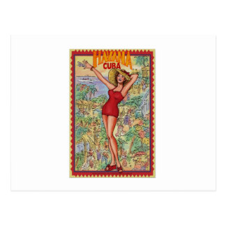 Havana woman: Vintage Cuban Havana Postcard