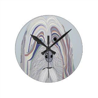Havanese Denim Colors Round Clock