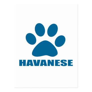 HAVANESE DOG DESIGNS POSTCARD