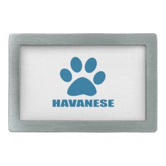 HAVANESE DOG DESIGNS RECTANGULAR BELT BUCKLES