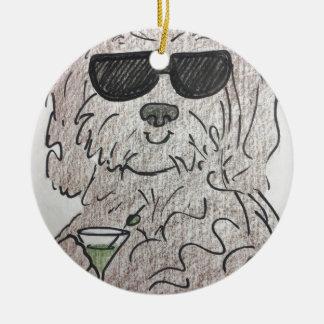 Havanese dog martini ceramic ornament