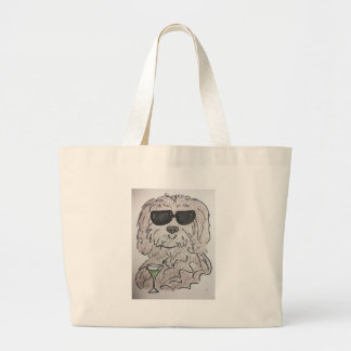 Havanese dog martini large tote bag