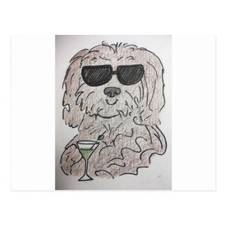 Havanese dog martini postcard