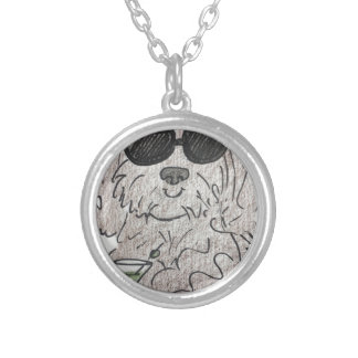 Havanese dog martini silver plated necklace
